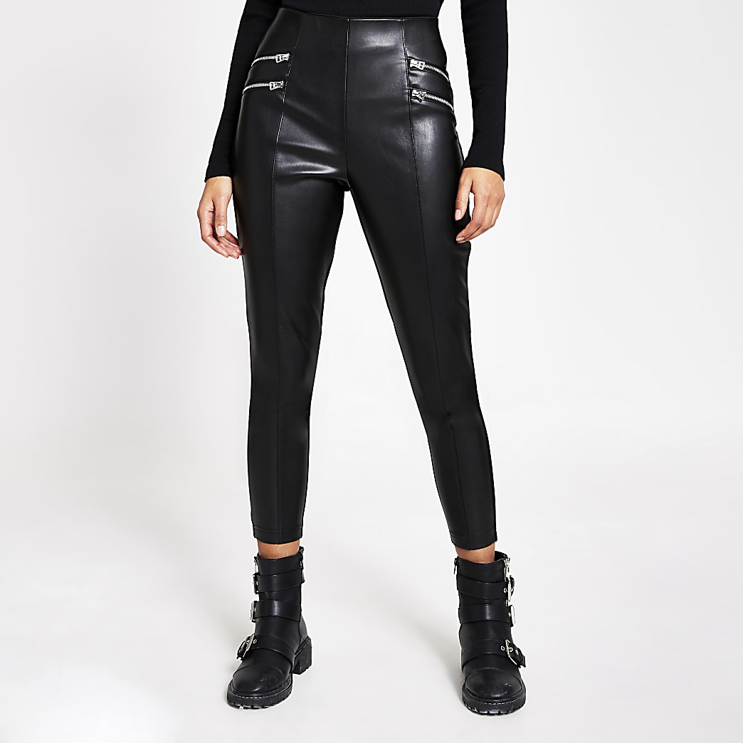 Black faux leather zip front leggings