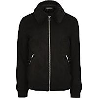 Black faux suede faux fur collar jacket