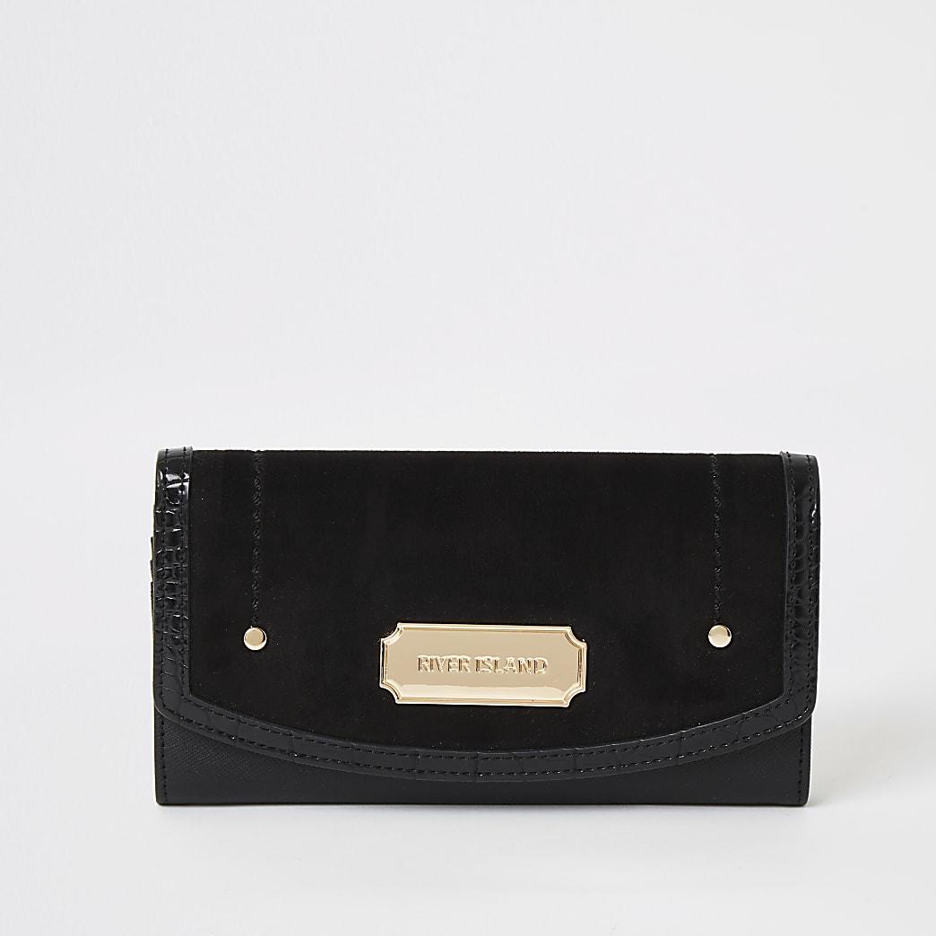 Zwarte portemonnee van imitatiesuède met omslagklepje