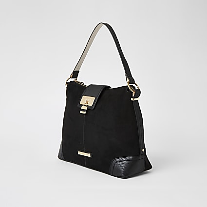 Black faux suede lock front slouch bag