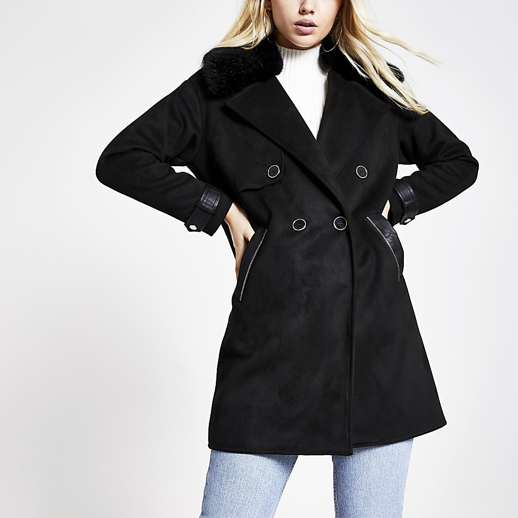 Black faux suede longline duster jacket