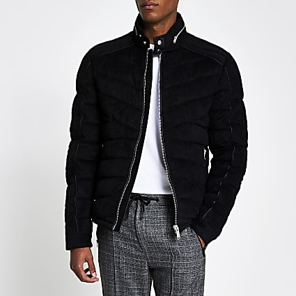 Black faux suede quilted racer jacket