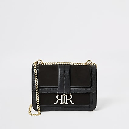 Black faux suede RI underarm satchel bag