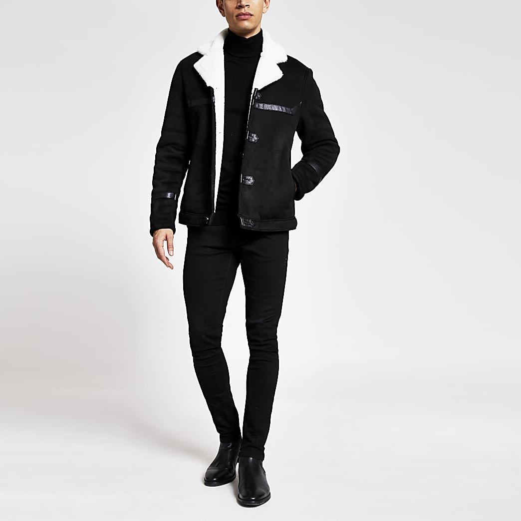 Black faux suede shearing coat