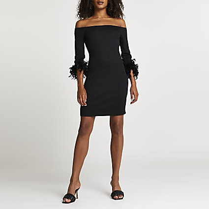 Black feather bardot dress