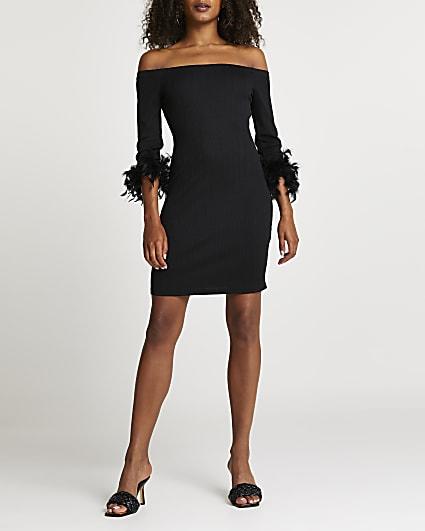 Black feather cuff bardot dress