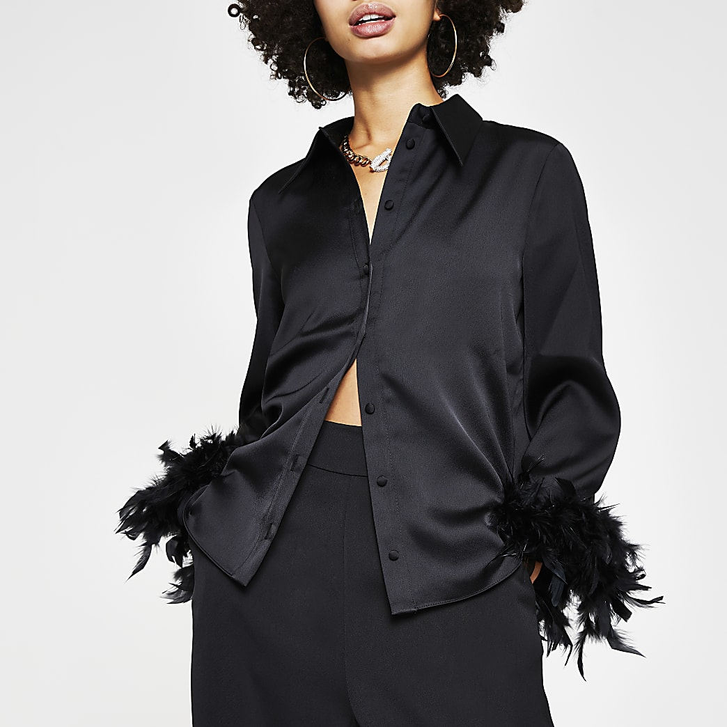Black feather cuff pyjama shirt