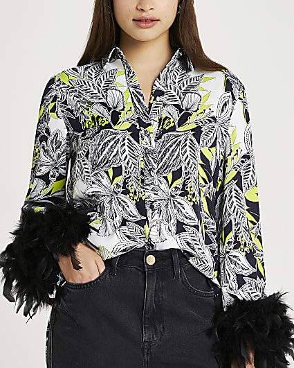 Black feather cuff shirt