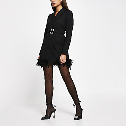 Black feather trim blazer dress