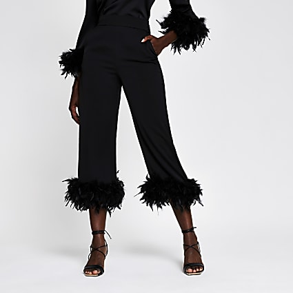 Black feather trim trousers