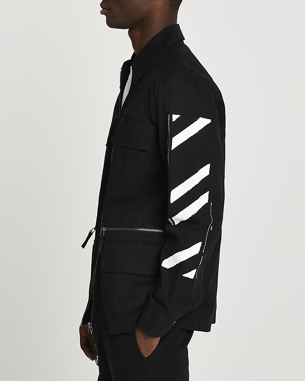 Black field jacket with sleeve print