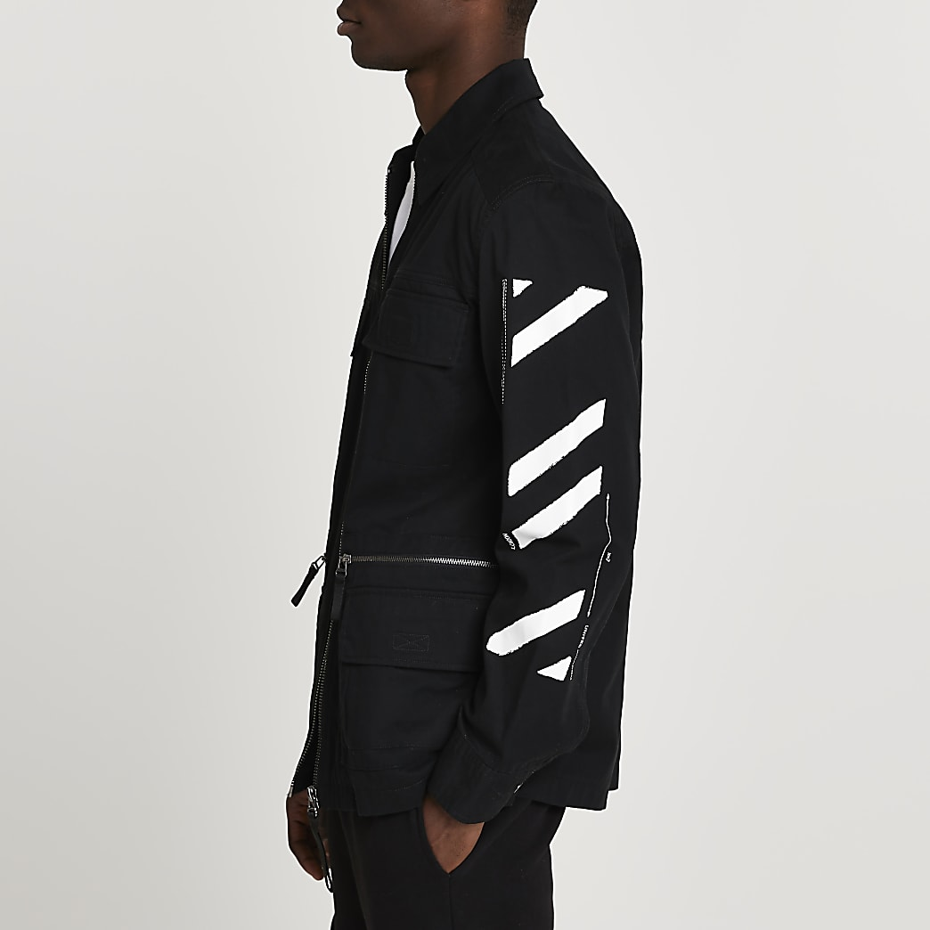 Black field jacket with sleeve print