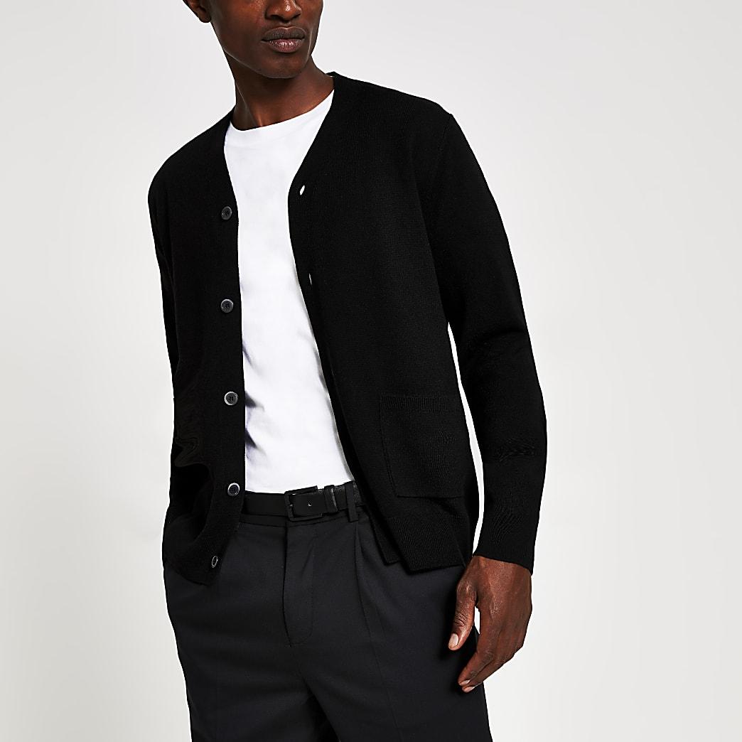 Black fine knit button front cardigan
