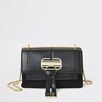 Black flap front underarm cross body handbag