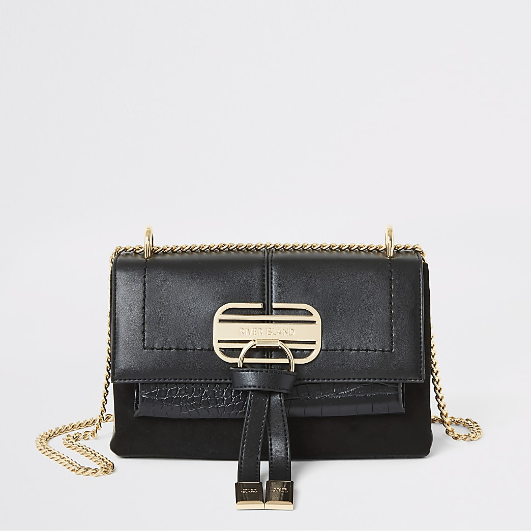 Black flap front underarm crossbody bag