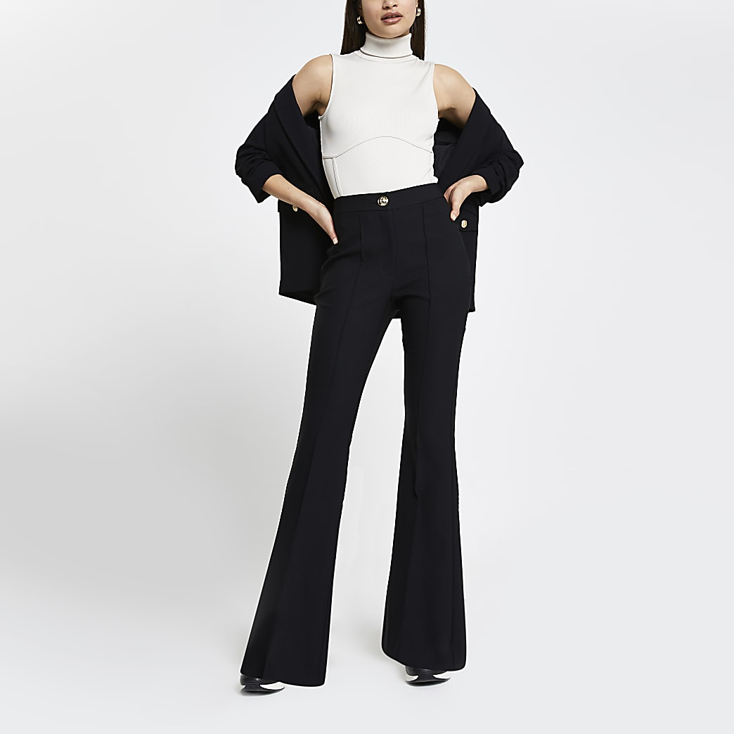 Black flare fitted trousers