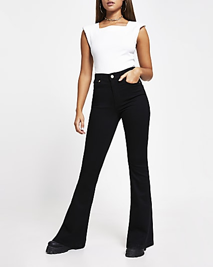 Black flare high waisted jeans