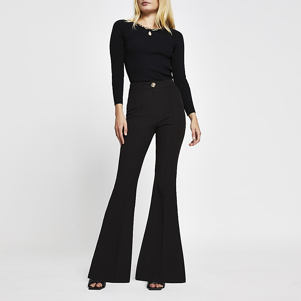 Black flared fitted trousers