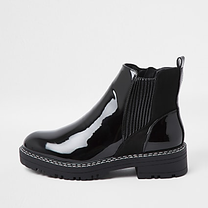 Black flat wide fit chunky chelsea ankle boot