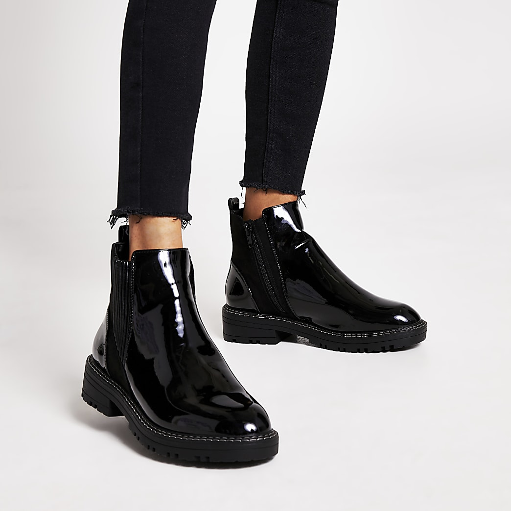 River Island Wide Fit flat ankle boots