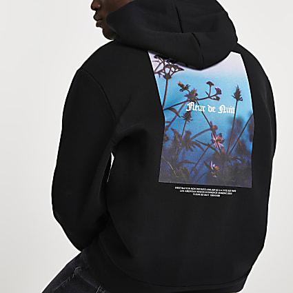 Black 'Fleur De Nuit' back print hoodie