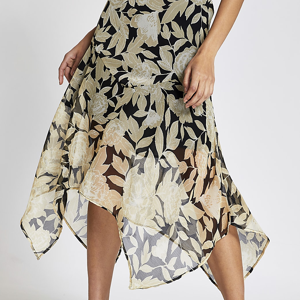 River Island NEW Womens Asymmetric Hem Black Pink White Floral Midi Skirt 6-18
