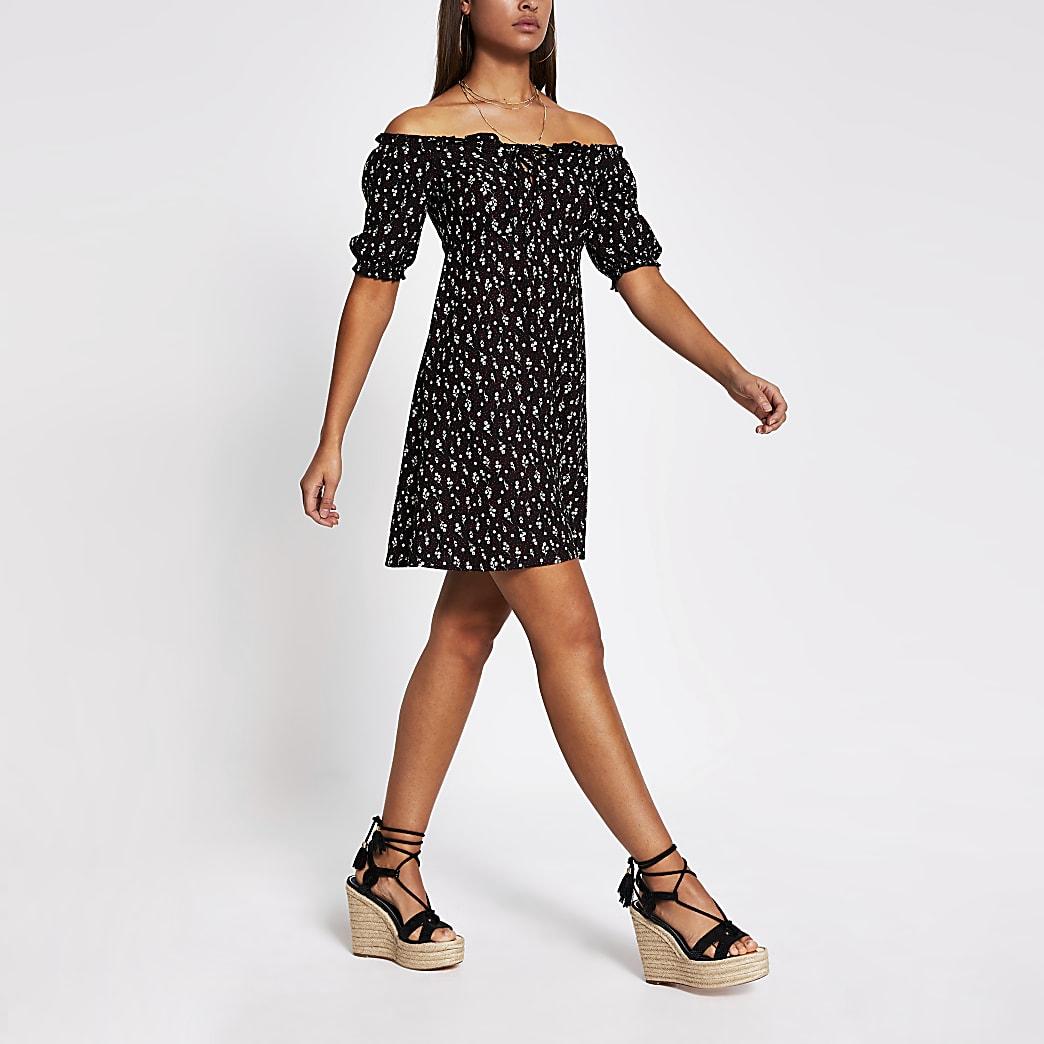Black floral bardot puff sleeve dress