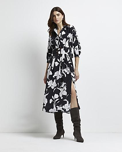 Black floral belted midi dress