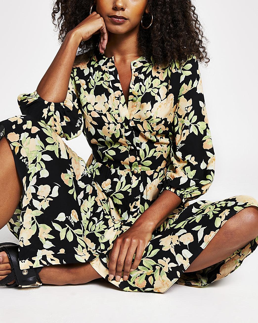 Black floral button down dress