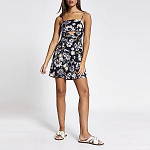 Black floral cutout beach mini dress