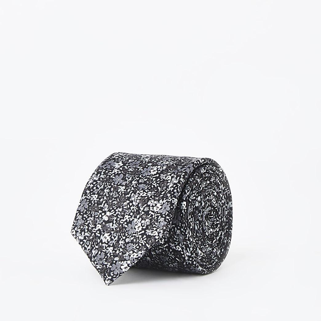 Cravate noire à imprimé petites fleurs