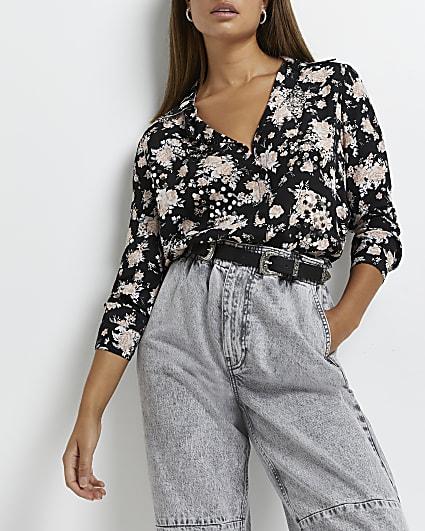 Black floral embellished shirt