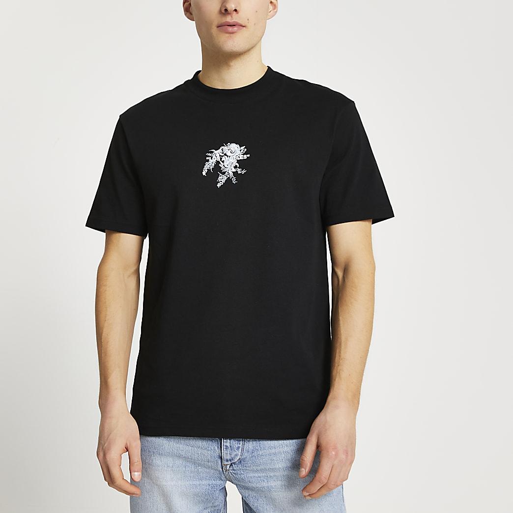 Black floral embellished t-shirt