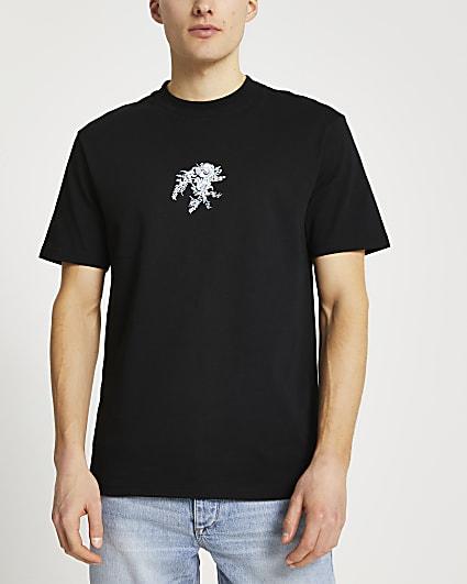 Black floral embroidered regular fit t-shirt