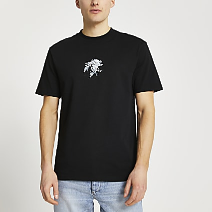 Black floral embroidered t-shirt