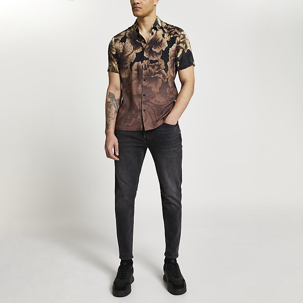Black floral fade slim fit short sleeve shirt