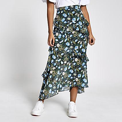 Black floral frill chiffon midi skirt