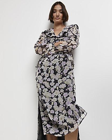 Black floral frill midi dress