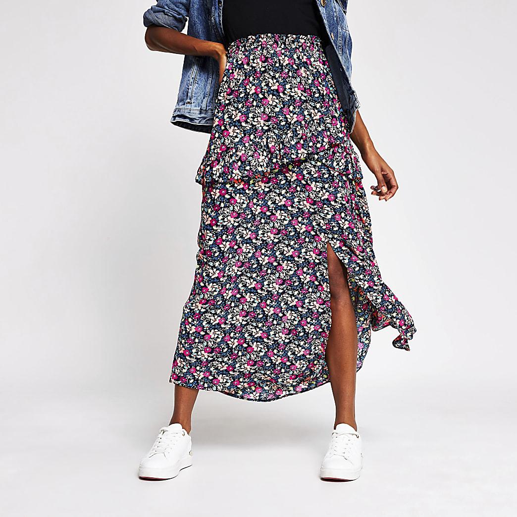 Black floral frill split midi skirt
