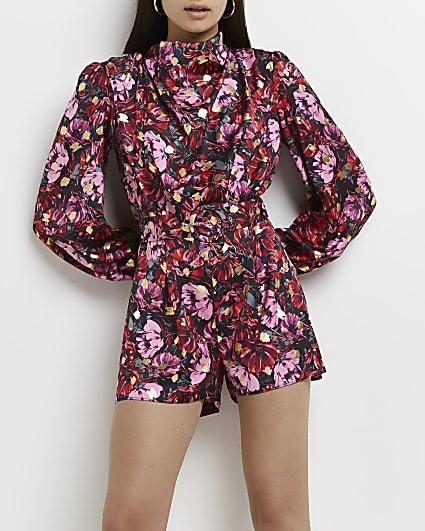 Black floral high cowl neck belted playsuit