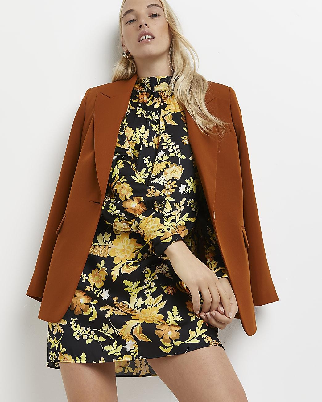 Black floral high neck mini dress
