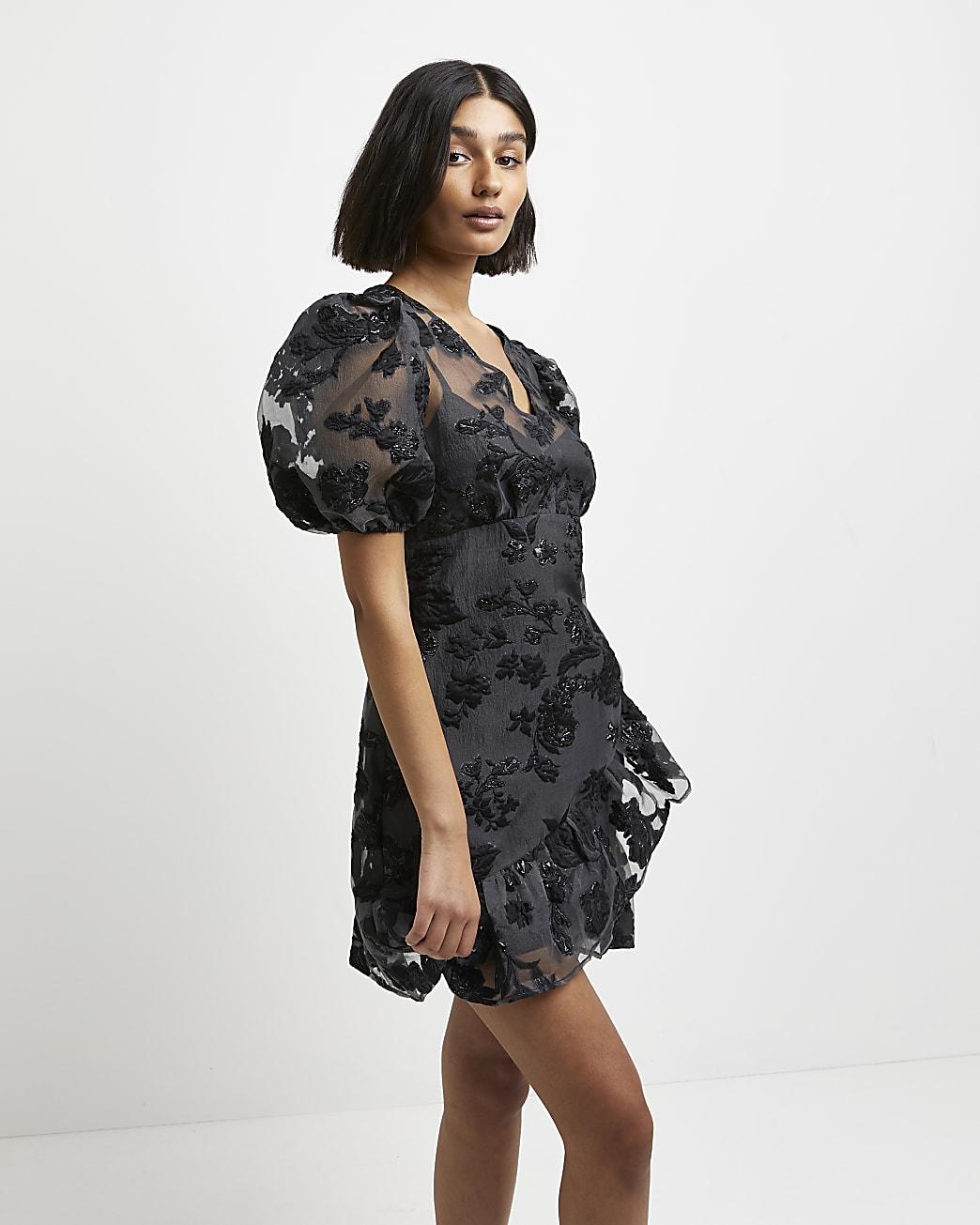 Black floral jaquard puff sleeve wrap dress