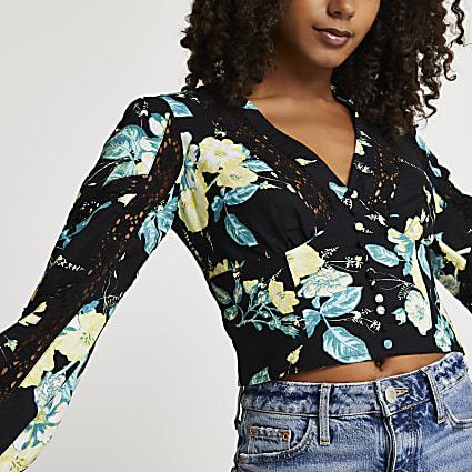 Black floral lace trim long sleeve corset top