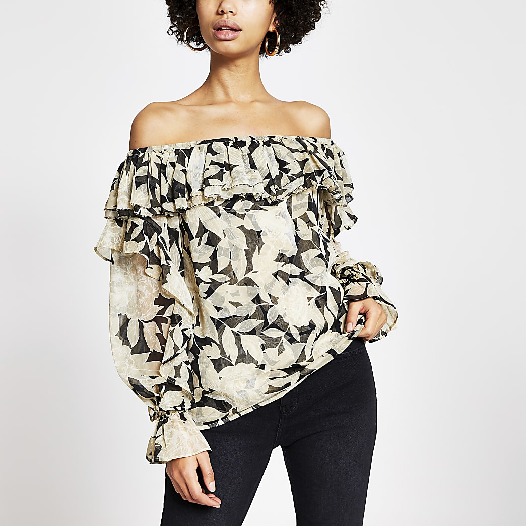 Black floral long sleeve bardot top