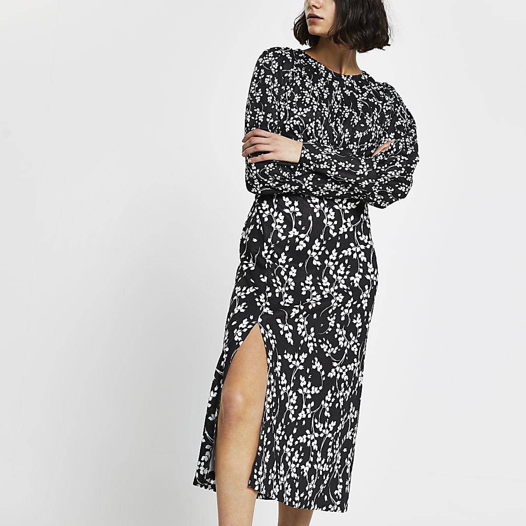 Black floral long sleeve midi split dress