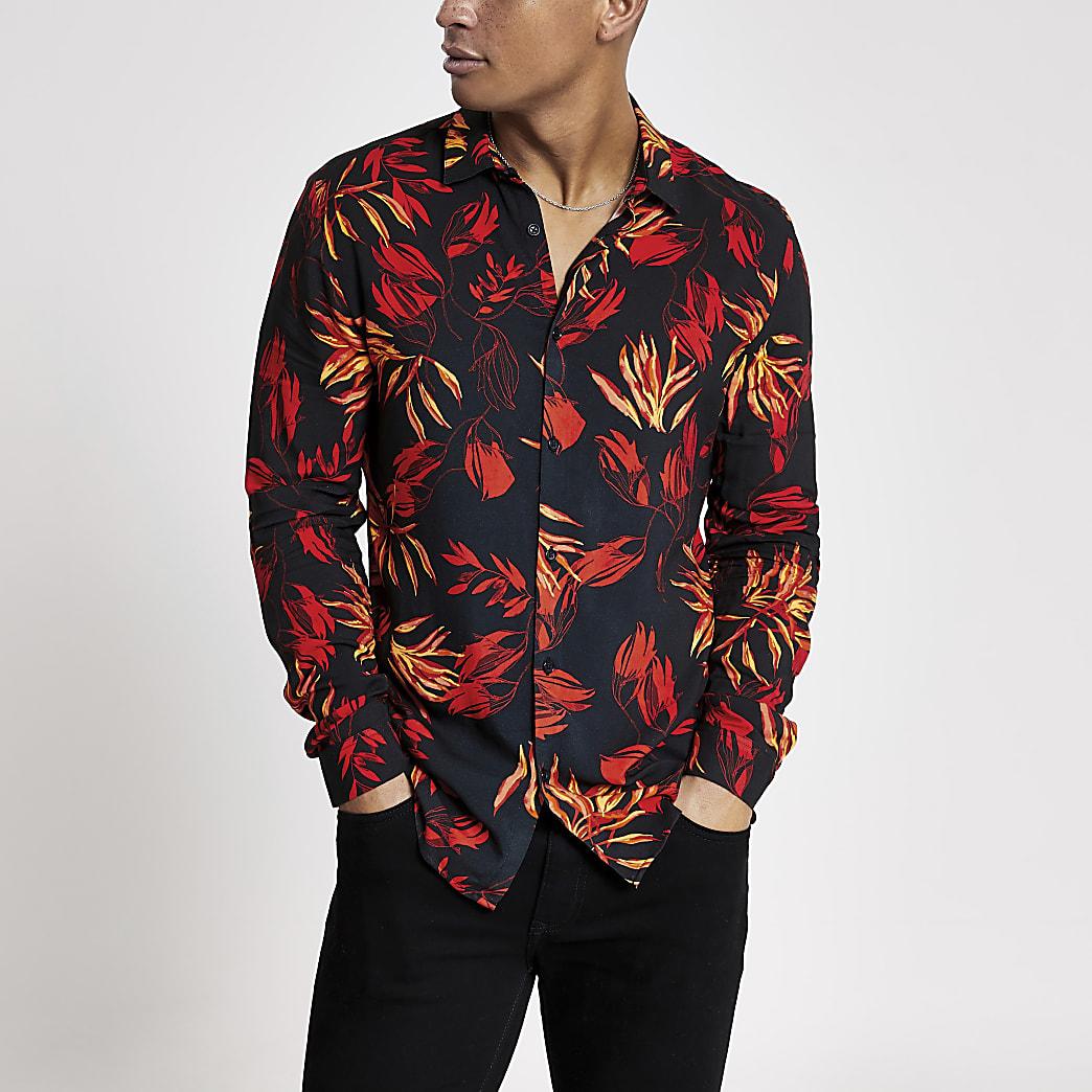 Schwarzes, langärmeliges Slim Fit Hemd mit Blumenmuster