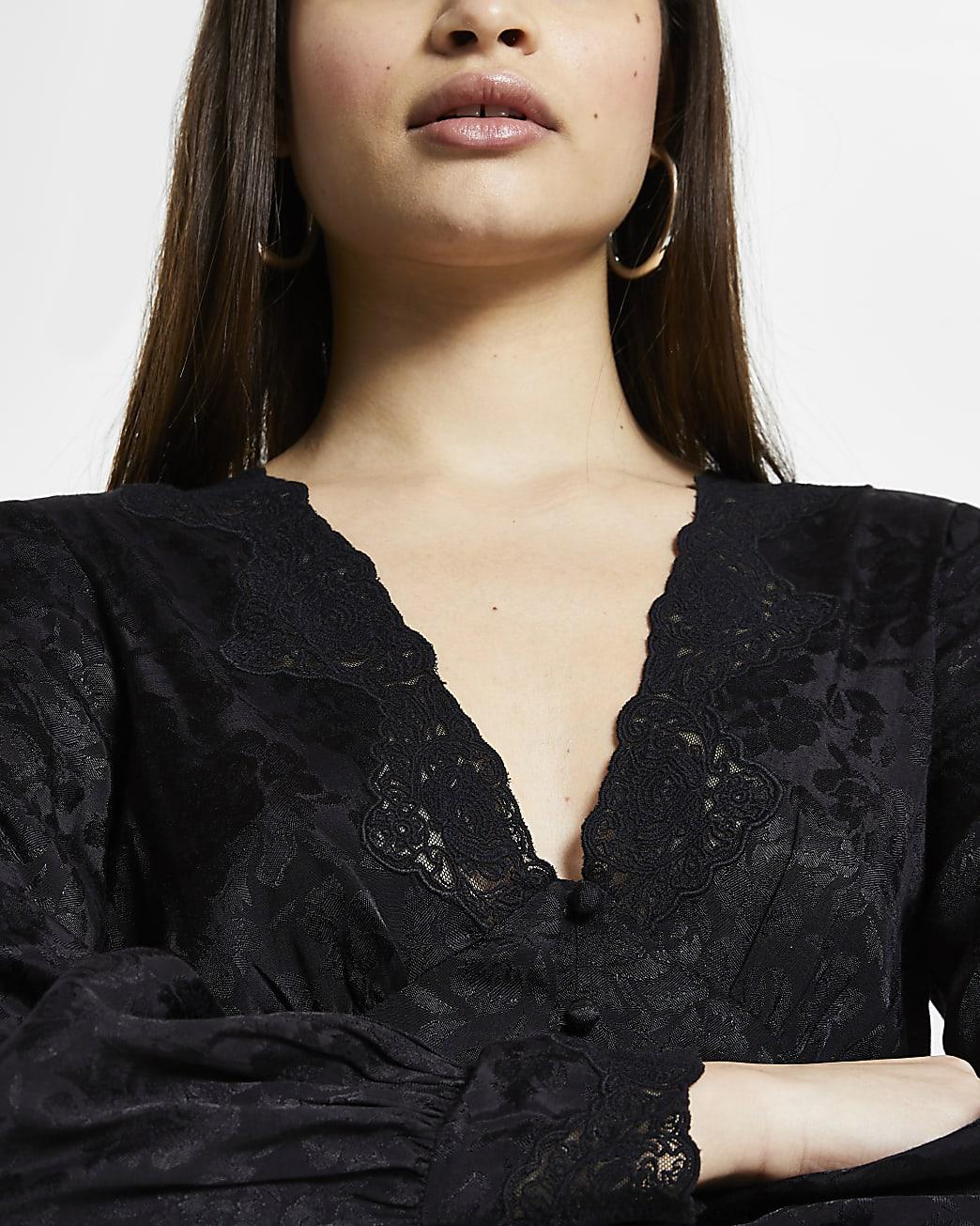 Black floral long sleeve tea blouse top