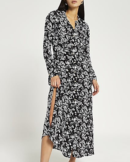 Black floral midi shirt dress