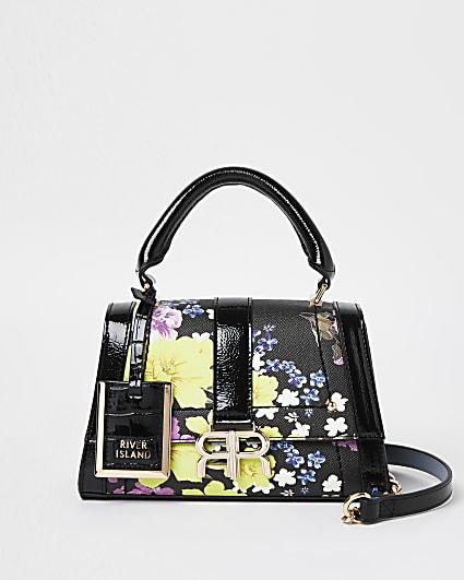 Black floral mini tote bag