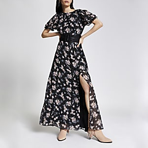 Zwarte maxi-jurk met bloemenprint en blote rug